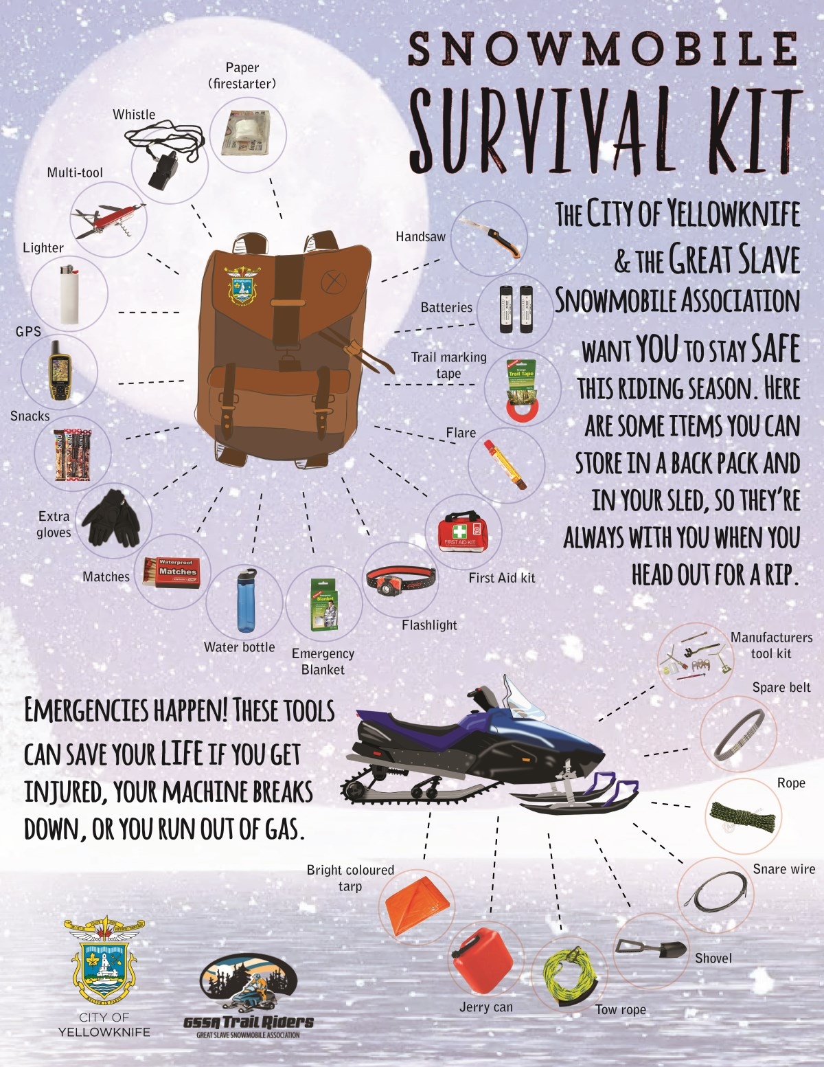 Snowmobile Survival Kit