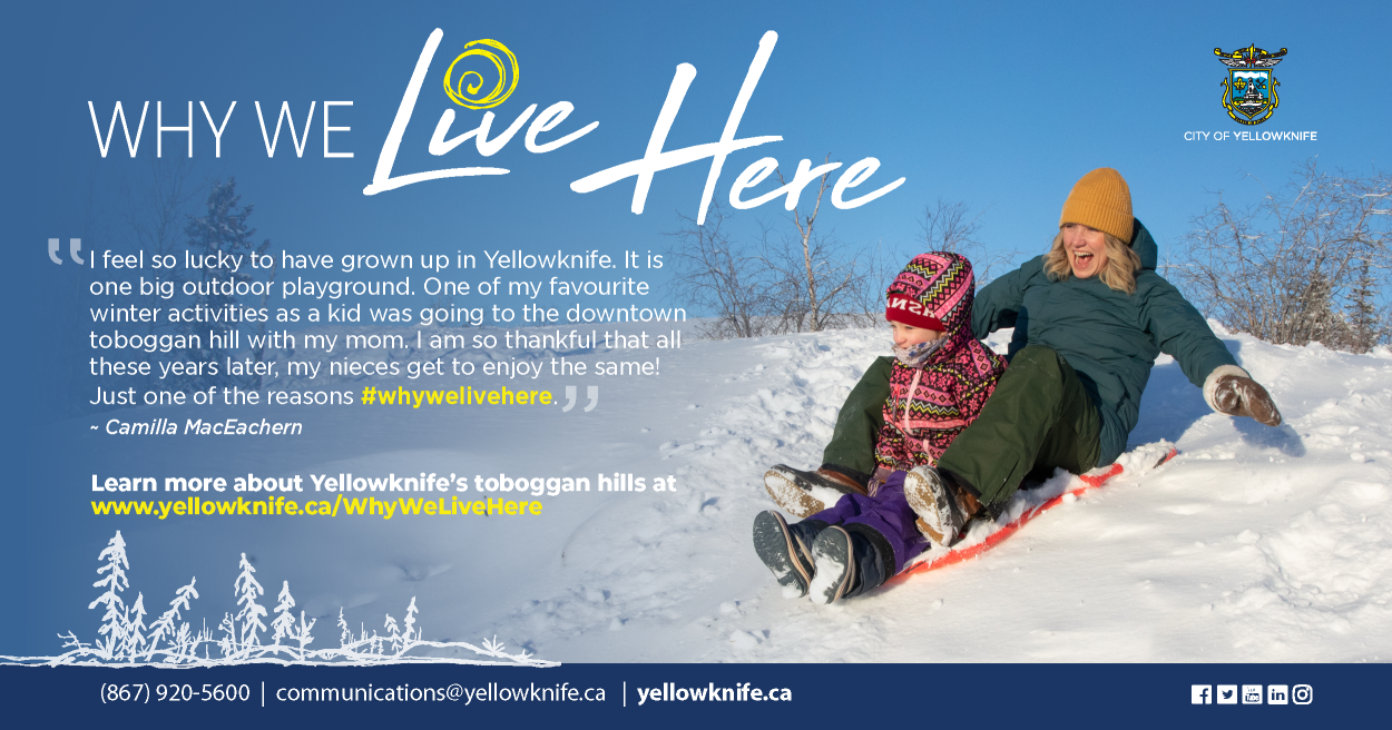 Why We Live Here, Billbradenphoto, City of Yellowknife Downtown Toboggan Hill