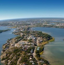 aerial photo of Yellowknife